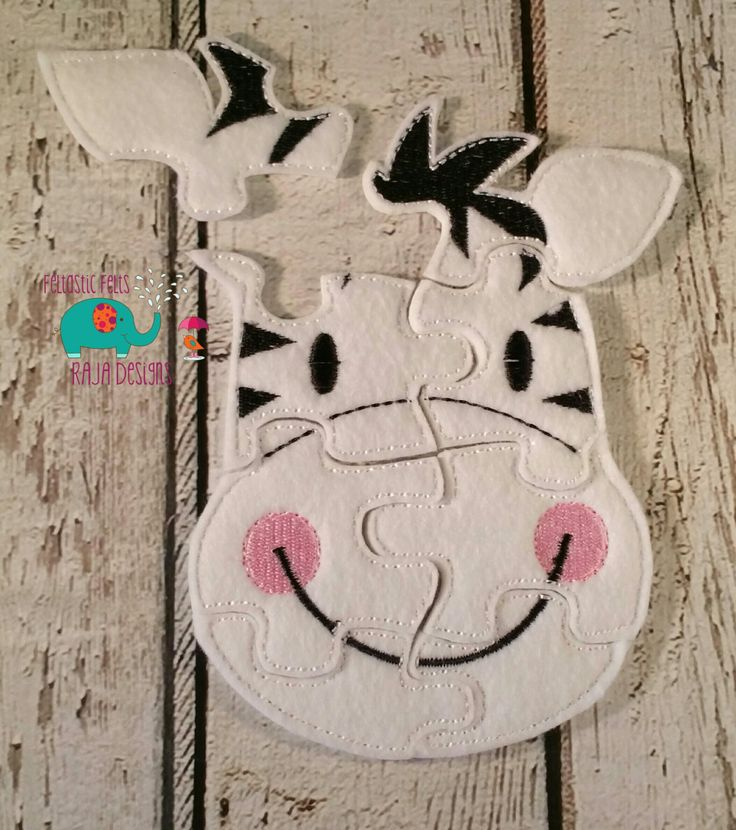 Felt zebra puzzle embroidered, embroidery, jigsaw puzzle, learning toy, activity, quiet game, kids toys, montessori, homeschool, busy book - pinned by pin4etsy.com