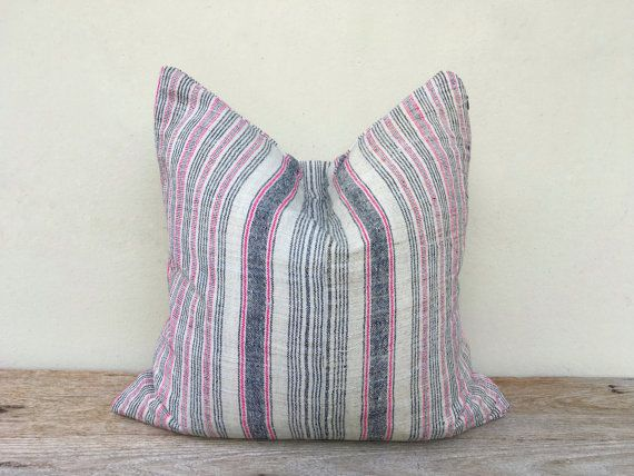 """Stripe Pillow Case Nature Hemp Hand Woven A Piece Of Vintage Tribal Textile 20"""" x 20"""" Reverse made of same fabric, minimalist pillow case"""