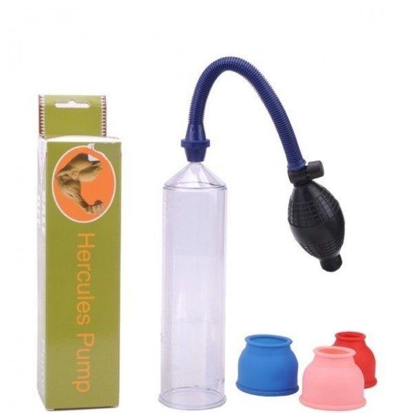 Aparelho Manual Hercules Pump - Maravilhoso desenvolvedor peniano importado com tubo em acrilico, pera para bombeamento e anel que envolve o pênis para a sucção, produto de ótima qualidade e durabilidade.