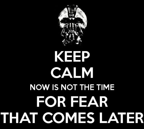 """Now is not the time for fear. That comes later."""