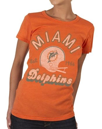 Women's Miami Dolphins Shirt by Junk Food  This officially licensed Women's NFL shirt by Junk Food features a vintage print of the Miami Dolphins team helmet along with the year the team was established.    Fabric Details        Color: Orange      50% cotton / 50% polyester    Our Price: $24.95  - See more at: http://www.oldschooltees.com/Womens-Miami-Dolphins-Shirt-by-Junk-Food-p/nfl018.htm#sthash.FVDo68bm.dpuf