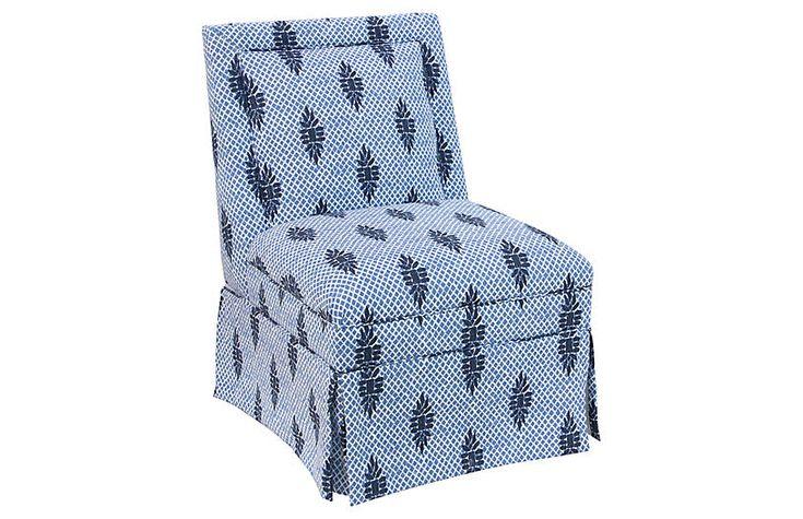 Greer Skirted Slipper Chair, Medallion