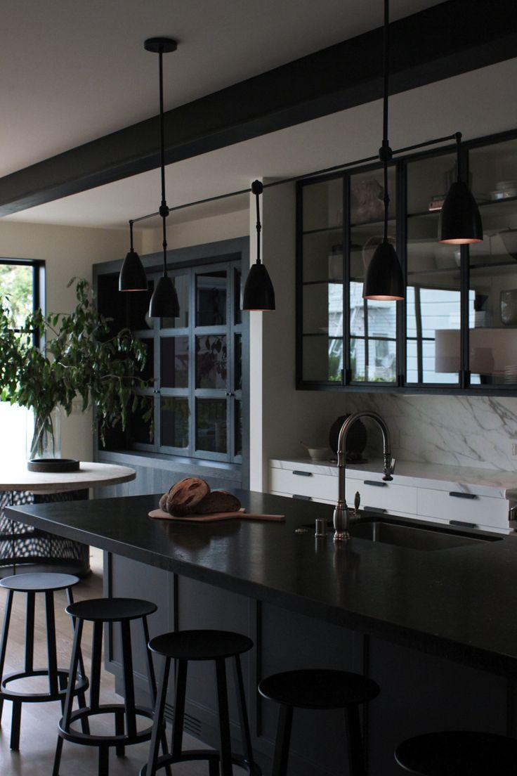 San Francisco Kitchen - Dark Kitchen - Black - Marble - Bar Stools #NICOLEHOLLIS Photo by Josephine Liu
