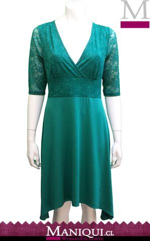 Vestido de Encaje, Verde Esmeralda. Hecho en Chile