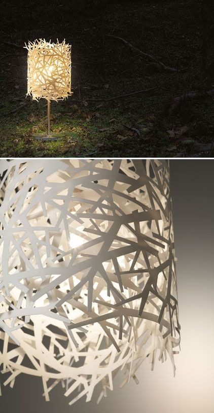 DIY lamp shade inspiration... this would look cool with tree silhouettes of different shades all stacked ontop of eachother