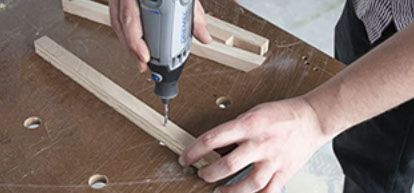 Step 4:  Using your Saw-Max tool & SM500 blade, cut  the cleats & drawer divider to size per the measured lengths for your dresser.     You'll need the following :  • (A) 1 for top hinge support  • (B) 2 for false drawer front attachment  • (C) 2 for rear panel support  • (D) 2 for inner shelf support     If desired, you may want to pull out your handy Dremel 3000 tool equipped with the 150 Drill Bit to make a series of pilot holes in your cleats before you secure them into place.