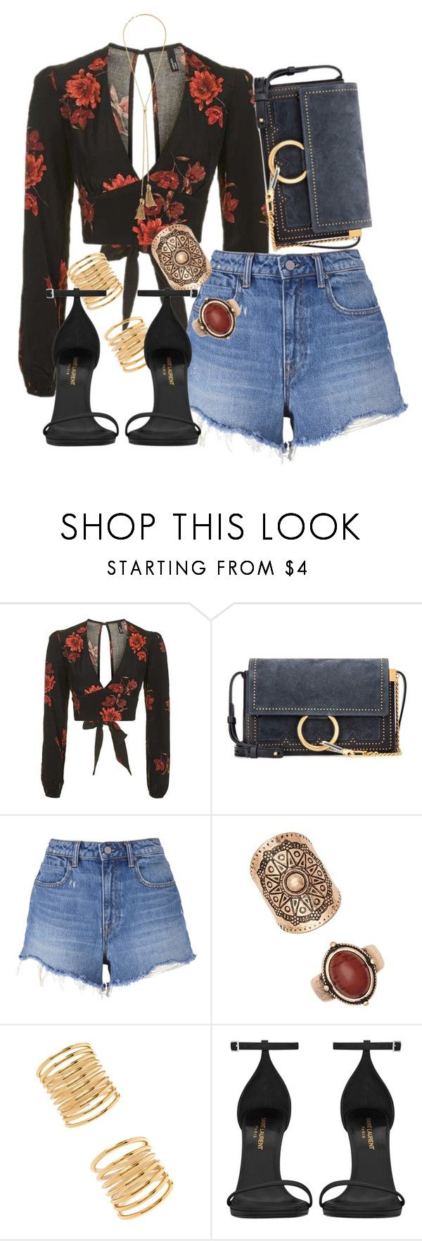 """""""Chloe x Topshop"""" by muddychip-797 ❤ liked on Polyvore featuring Topshop, Chloé, T By Alexander Wang, Forever 21, Yves Saint Laurent, NightOut, vacation, chloe and fashionset"""