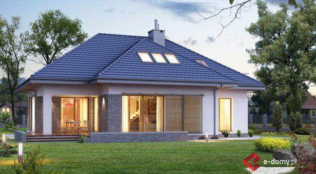 E-128, Dom z poddaszem i dużym tarasem - Projekty domów - E-DOMY.PL Projekty domów nowoczesnych: parterowych i piętrowych