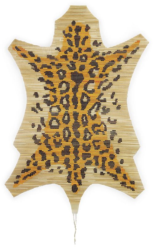 Leopard Wall Hanging made of straw by Gompf & Kehrer
