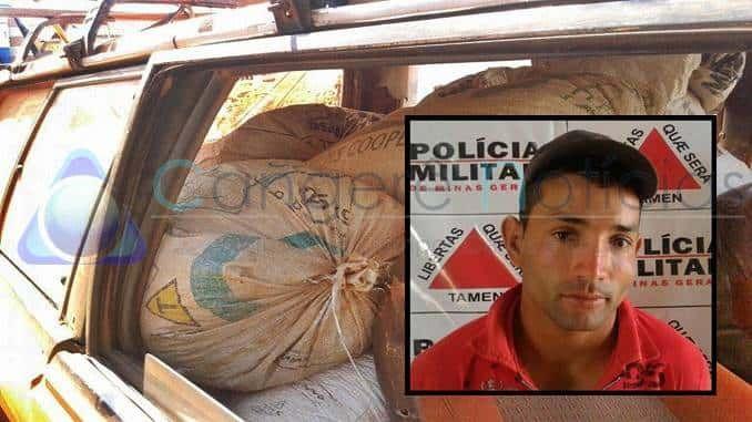 Policia Militar prende autor por furto de café em Campo do Meio-MG
