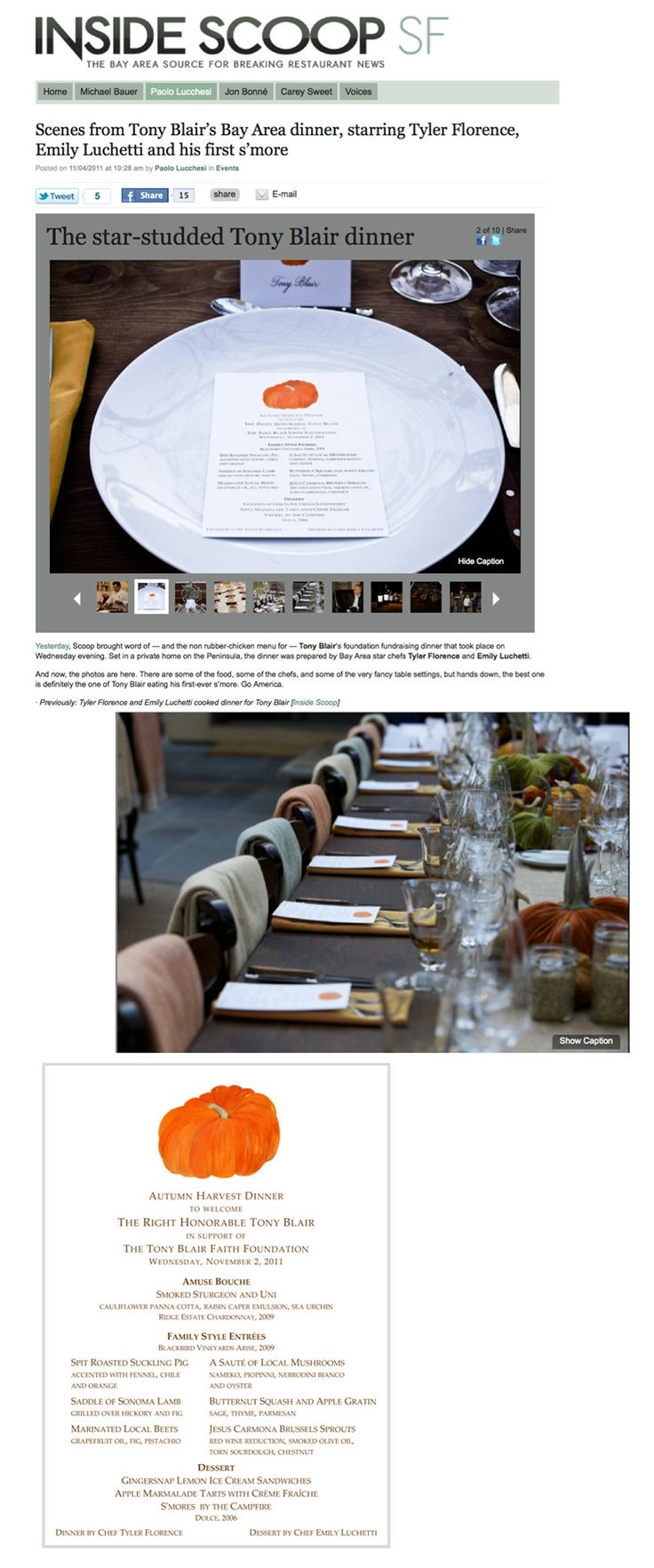 Lobird custom menu cards designed for Tony Blair Faith Foundation event features in Inside Scoop SF