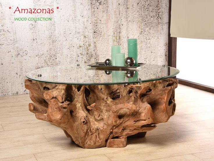 AMAZONAS Designer Couchtisch Aus Teak Wurzelholz   Inklusive Glasplatte |  WOODu2026