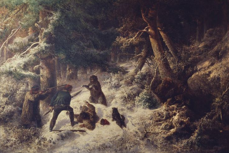 Bear-Hunting in the Winter | Alfred Wahlberg | 1861 | Nationalmuseum, Sweden | Public Domain Marked