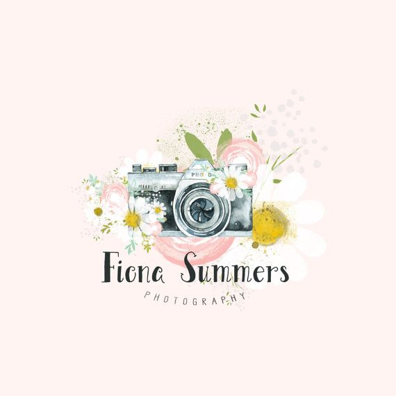 Premade Logo Camera Logo Boho Photography Logo and Watermark Design Business Branding Photography Watermark Calligraphy Logo Daisies Camera