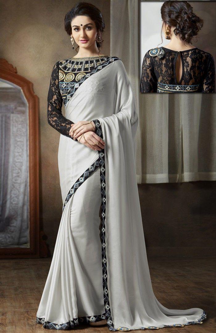 #Grey Satin #Saree with #DesignerBlouse