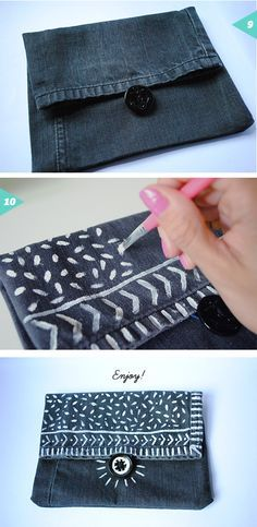Recycled denim pouch bag {DIY} | Jessica Rebelo Design More