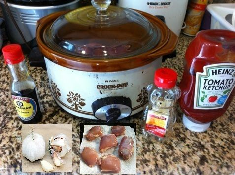Crock pot Honey Garlic Chicken - Boneless Skinless Chicken Thighs, Honey, Garlic, Ketchup, Soy Sauce