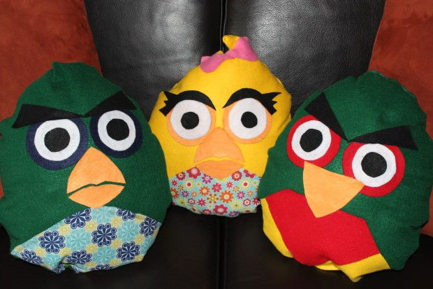 DIY No Sew Angry Birds Pillows