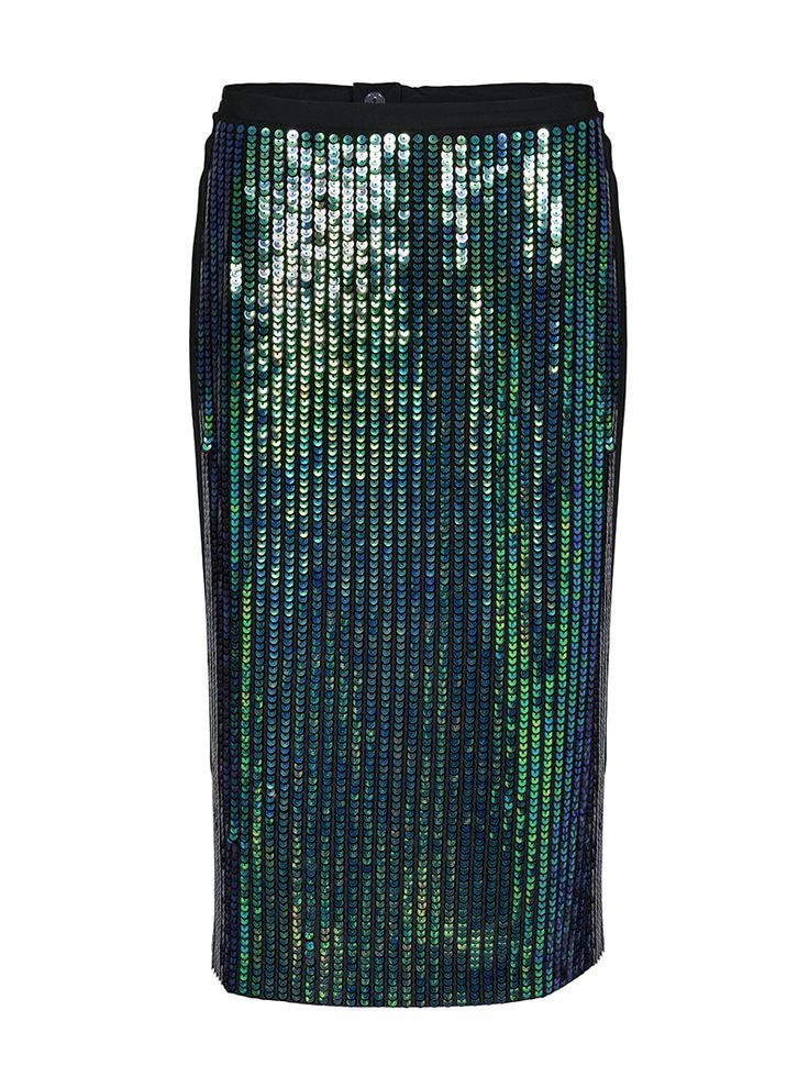By Numbers Konstancia Silk Sequin Pencil Skirt | Custommade.dk