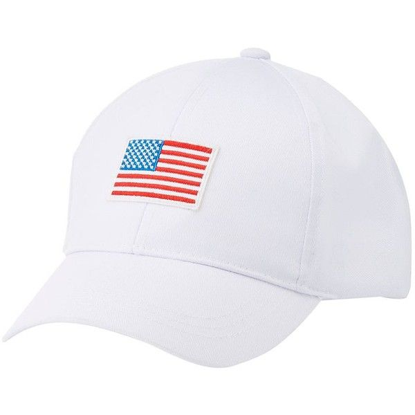 Charlotte Russe American Flag Baseball Hat ($6.29) ❤ liked on Polyvore featuring accessories, hats, multi, embroidered baseball caps, american flag patch hat, usa flag hat, embroidered hats and velcro hat