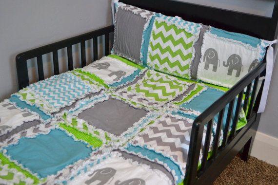Custom Elephant Toddler Bed Rag Quilt in Gray by avisiontoremember, $150.00