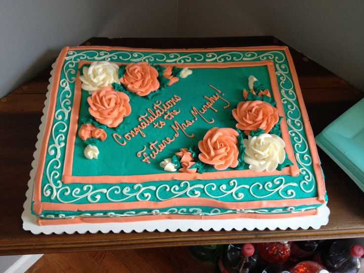 Teal Sheet Cake