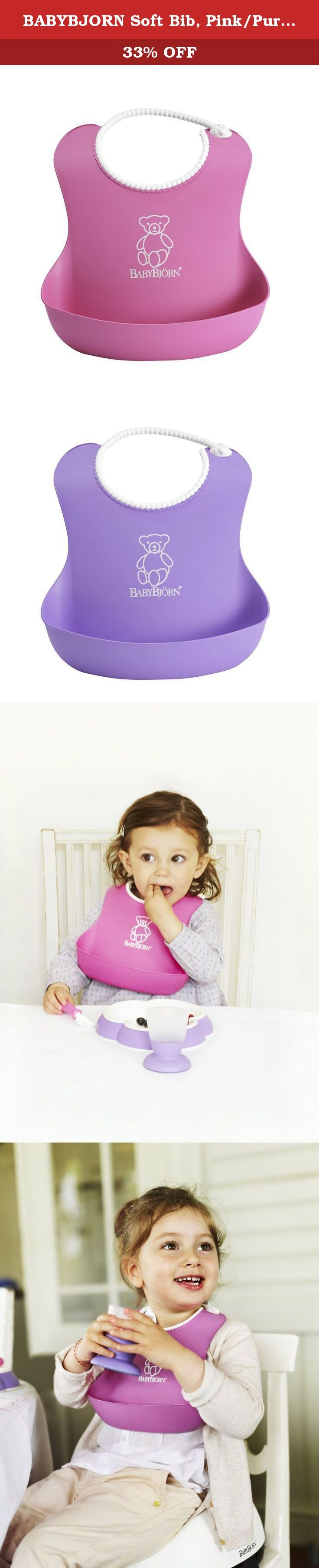 BABYBJORN Soft Bib, Pink/Purple, 2 Pack. The BabyBjorn soft bib is soft and comfortable plastic bib catches food that misses your child's mouth. The bib is easy to clean and the fast-drying plastic means that you can use it again quickly. Suitable from four months.