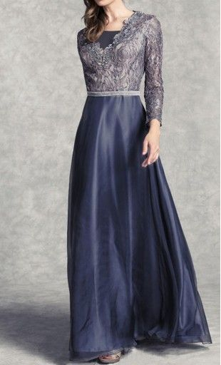 Womens long sleeved formal maxi dress with lace overlay, embroidered detail, and layered skirt. Available i S-3XL #formaldress #formalwear #modestclothing