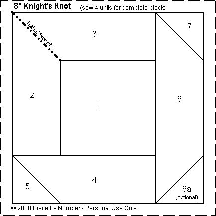 Knight's Knot Paper Piecing Quilt Block Pattern