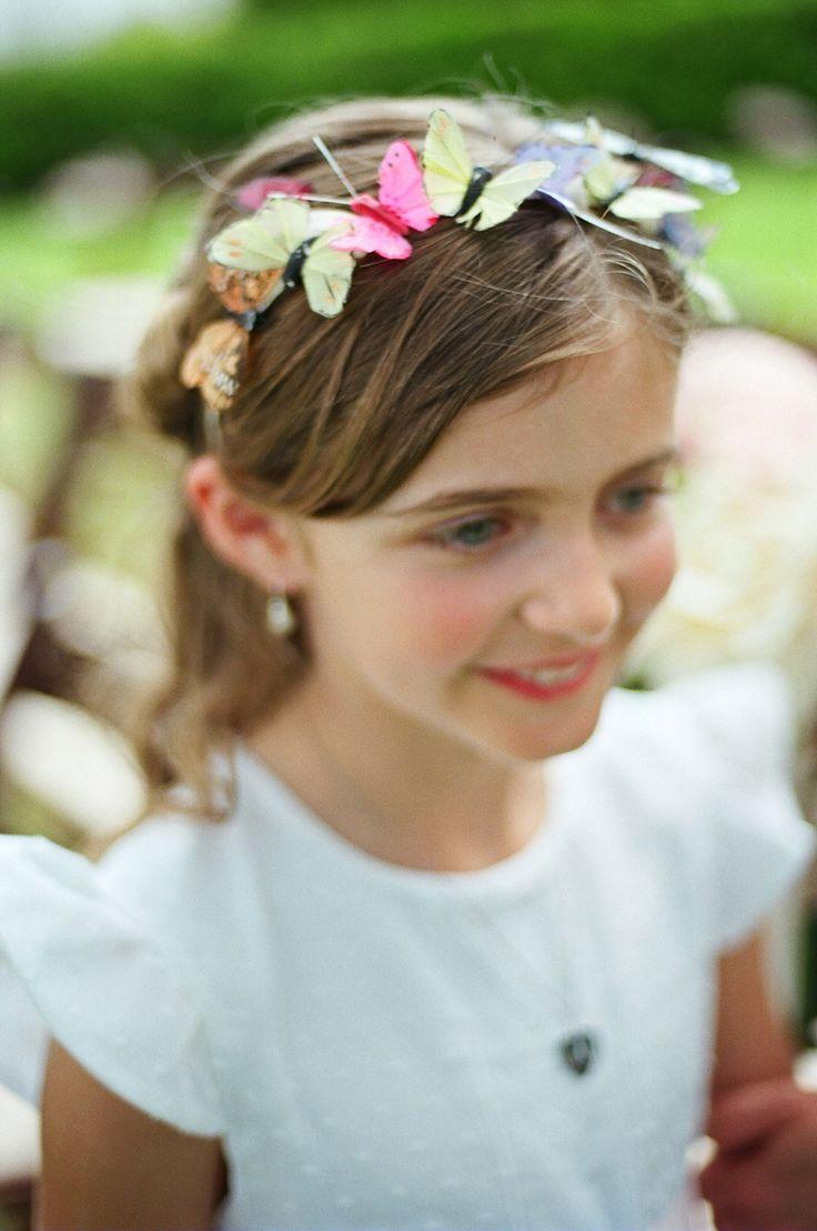 #flowergirlcrown #butterflies LIz Banfield photo- lizbanfield.com Tara Guerard Soiree- taraguerardsoiree.com