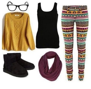 Comfy winter / fall outfit . Yellow sweater , black tank , colorful tribal printed leggings , black boots , nerdy glasses, pink scarf .