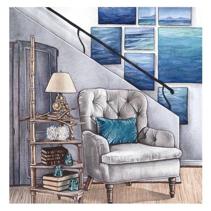 """Это история о том, что если за окном: снег, ноябрь и Москва, насладиться морем можно и дома Как поется в одной песне: """"В моем городе нет моря, но куда бы я не шла, мое море со мной"""" Эта история об этом. #interiorsketch #interiordesign #interior #kaznakovaolga #illustration #drawing #sketching"""