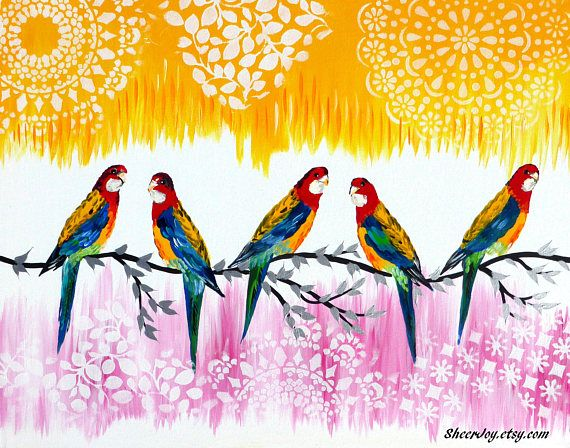 modern art pink painting with birds on canvas australian