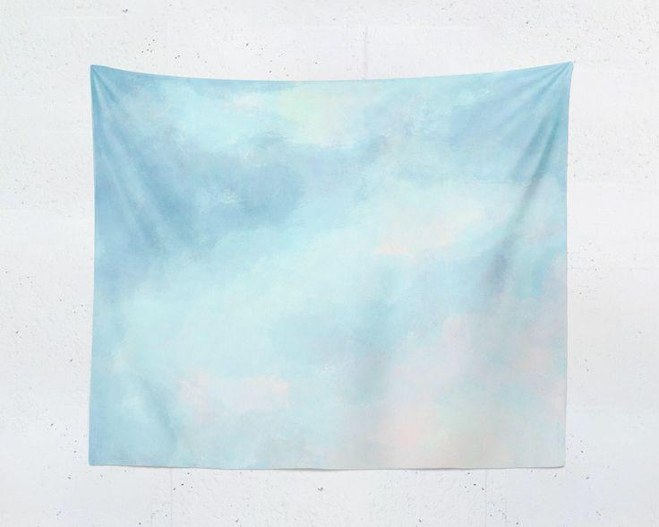 Light Blue Tapestry, Wall Hanging, Blue Wall Art, Blue Wall Hanging, Watercolor Tapestry, Clouds Tapestry, Baby Blue Tapestry, Clouds Art by FrankiePrintCo on Etsy https://www.etsy.com/listing/511281204/light-blue-tapestry-wall-hanging-blue
