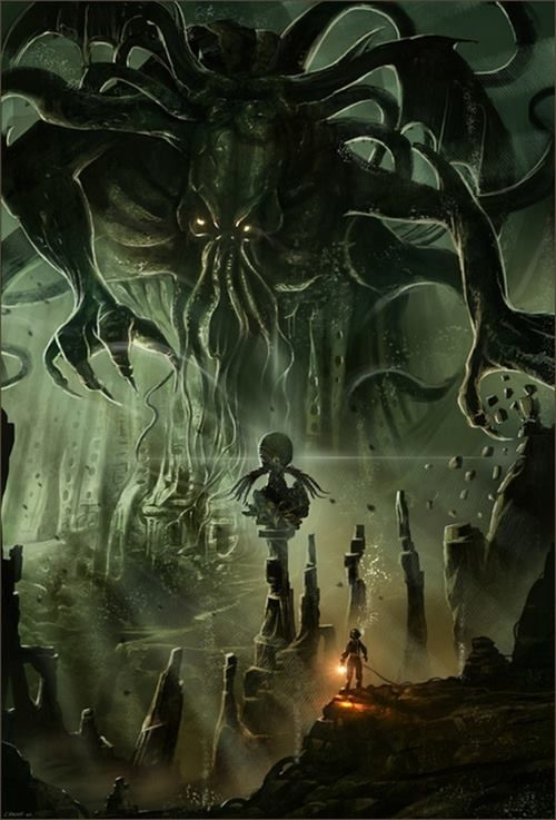 "Cthulu -""Ph'nglui mglw'nafh Cthulhu R'lyeh wgah'nagl fhtagn"" (""In his house at R'lyeh, dead Cthulhu waits dreaming."")"