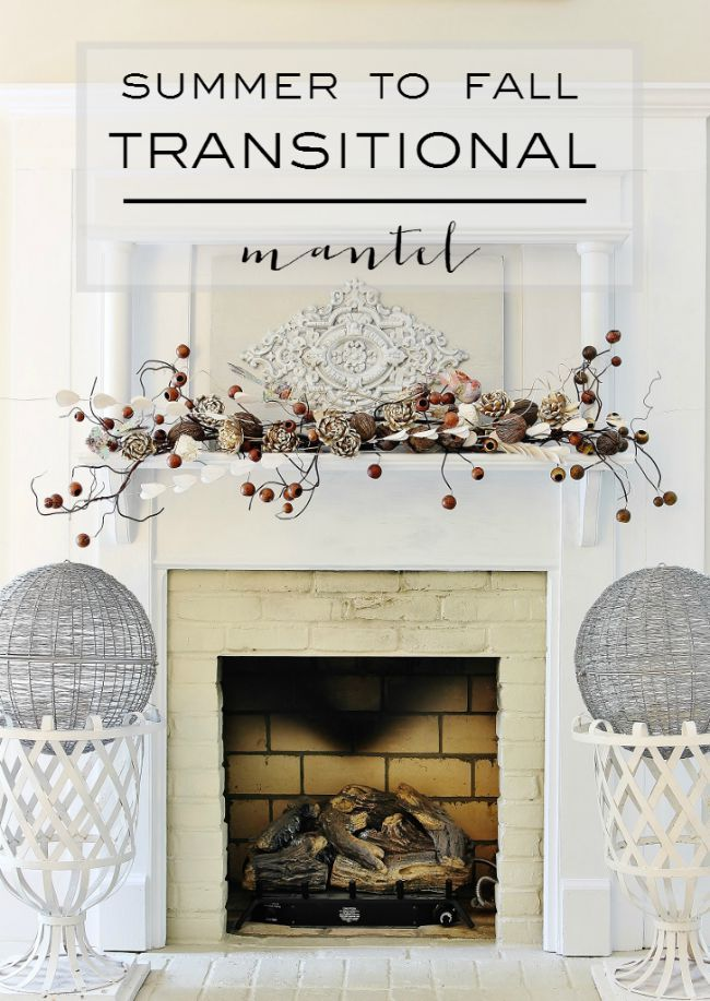 Summer To Fall Transitional Mantel....love the vine/berries
