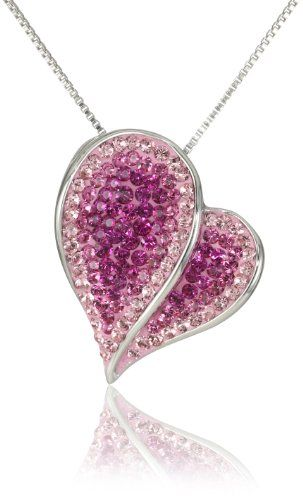 """$69.99 Carnevale Sterling Silver Pink Heart with Swarovski Elements Pendant Necklace, 18""""  From Amazon Curated Collection   Get it here: http://astore.amazon.com/ffiilliipp-20/detail/B005NGUU7E/184-7625607-7188113"""
