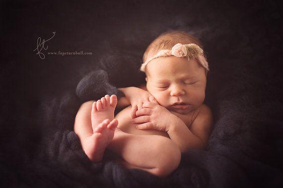 Wool fluff merino basket stuffer newborn photo by LavenderBlossoms