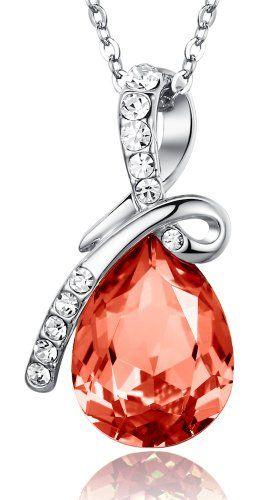ARCO IRIS Eternal Love Teardrop Swarovski Elements Crystal Pendant Necklace for Women W 18k White Gold Plated Chain - Orange Sapphire - 2101501 -