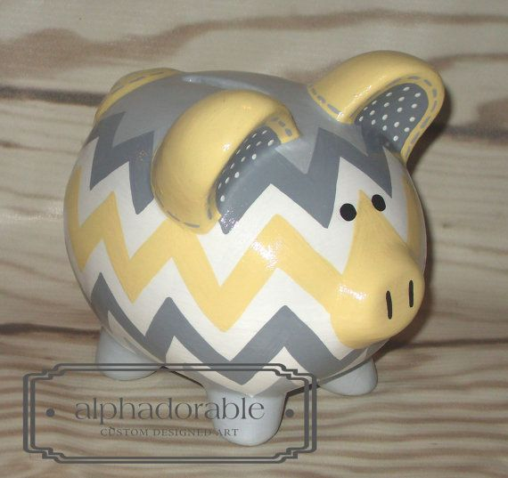 Yellow grey chevron Custom hand painted ceramic personalized piggy by Alphadorable, $40.00