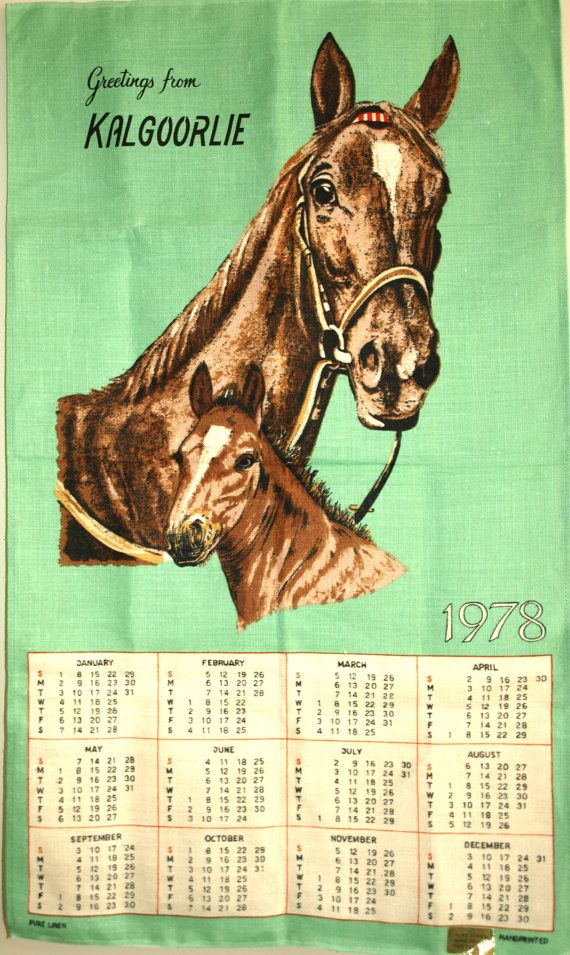 Horse & Foal 1978 Calendar Tea Towel  Equine Mare by FunkyKoala