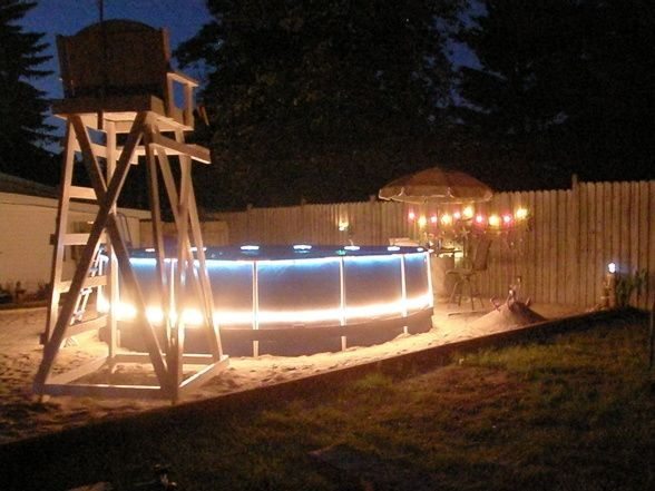 The 25 best backyard beach ideas on pinterest sand fire for Above ground pool lighting ideas