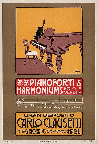 """""""Pianoforti & Harmoniums Nolo E Vendita / Gran Deposito Carlo Clausetti"""" Vintage Italian Advertising Poster by Gallo"""
