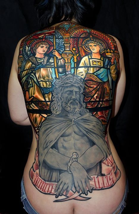 tattooDe Poissy, Glasses Tattoo, Stainedglass, Back Piece, Body Art, Tattoo Ink, Bodyart, Mikael De, Stained Glasses