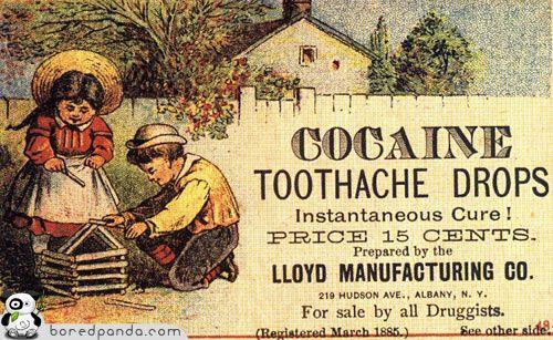 alucinante...........Gotas de cocaína para el dolor de muelas. ¡Cura instantánea!
