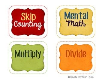 Math Task Card Labels