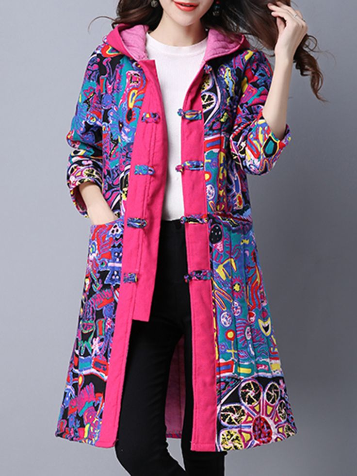 O-NEWE Vintage Printed Chinese Frog Long Sleeve Hooded Coat - Newchic Plus Size Outerwear Mobile
