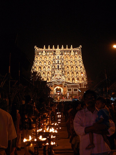 Night view of Padmanabhaswami Temple. A Hindu Temple dedicated to Lord Vishnu, currently run by a trust headed by the royal family of Travancore. Thiruvananthapuram, INDIA.