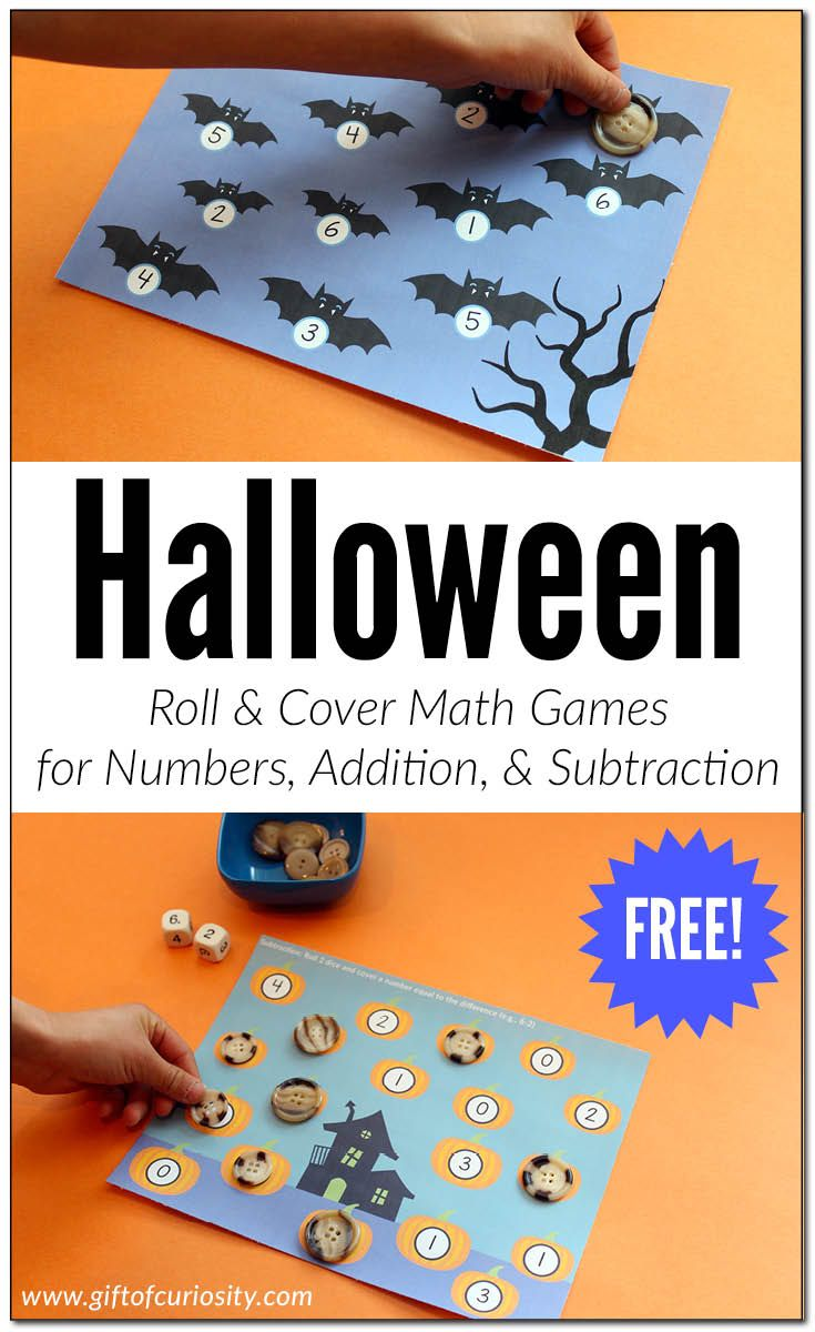 FREE printable Halloween Roll & Cover Math Games. This download includes 3 different games: a number recognition game, a basic addition game, and a basic subtraction game. || Gift of Curiosity