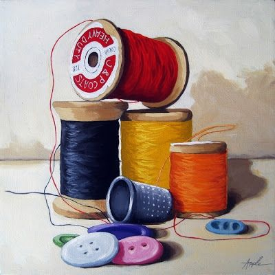 Sewing Time realistic still life oil painting, painting by artist Linda Apple